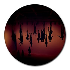 Silhouette Of Circus People Round Mousepads