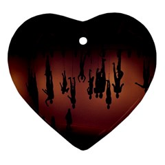 Silhouette Of Circus People Ornament (heart)