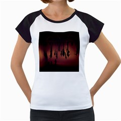Silhouette Of Circus People Women s Cap Sleeve T