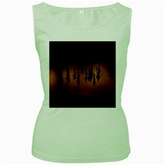Silhouette Of Circus People Women s Green Tank Top