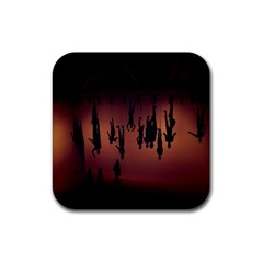 Silhouette Of Circus People Rubber Square Coaster (4 Pack)