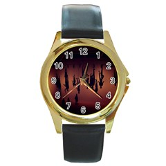 Silhouette Of Circus People Round Gold Metal Watch