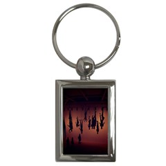 Silhouette Of Circus People Key Chains (rectangle)