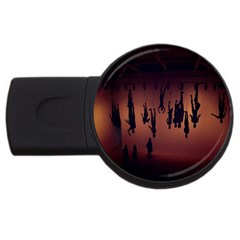 Silhouette Of Circus People USB Flash Drive Round (1 GB)