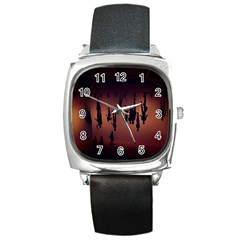 Silhouette Of Circus People Square Metal Watch