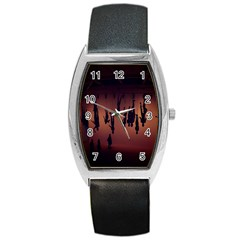Silhouette Of Circus People Barrel Style Metal Watch