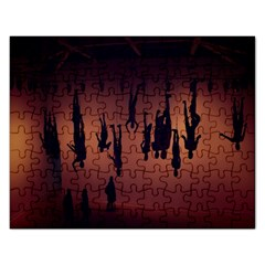 Silhouette Of Circus People Rectangular Jigsaw Puzzl