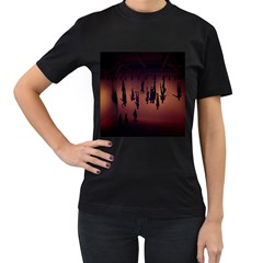 Silhouette Of Circus People Women s T-Shirt (Black) (Two Sided)