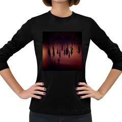 Silhouette Of Circus People Women s Long Sleeve Dark T-Shirts