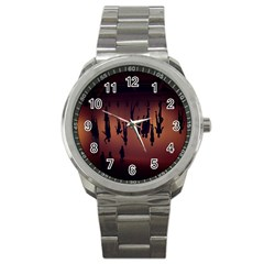 Silhouette Of Circus People Sport Metal Watch