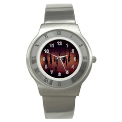Silhouette Of Circus People Stainless Steel Watch