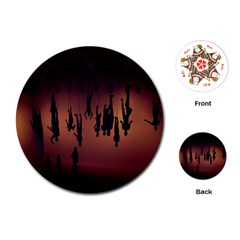 Silhouette Of Circus People Playing Cards (Round)
