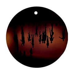 Silhouette Of Circus People Round Ornament (Two Sides)