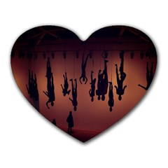 Silhouette Of Circus People Heart Mousepads