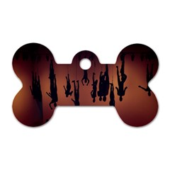 Silhouette Of Circus People Dog Tag Bone (Two Sides)
