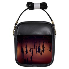 Silhouette Of Circus People Girls Sling Bags