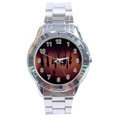 Silhouette Of Circus People Stainless Steel Analogue Watch