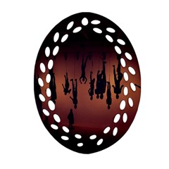 Silhouette Of Circus People Oval Filigree Ornament (two Sides)