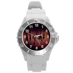 Silhouette Of Circus People Round Plastic Sport Watch (l)