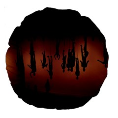 Silhouette Of Circus People Large 18  Premium Round Cushions