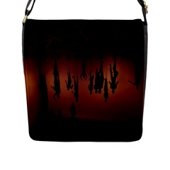 Silhouette Of Circus People Flap Messenger Bag (l)