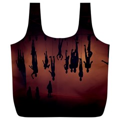 Silhouette Of Circus People Full Print Recycle Bags (L)