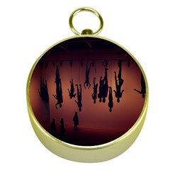 Silhouette Of Circus People Gold Compasses