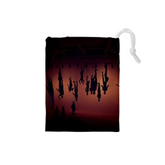 Silhouette Of Circus People Drawstring Pouches (Small)