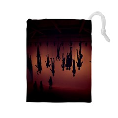 Silhouette Of Circus People Drawstring Pouches (large)