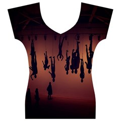 Silhouette Of Circus People Women s V-Neck Cap Sleeve Top