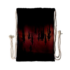 Silhouette Of Circus People Drawstring Bag (small)