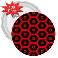 Red Bee Hive Texture 3  Buttons (100 pack)