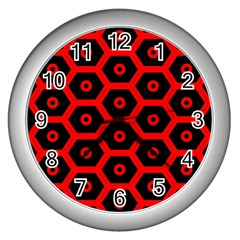 Red Bee Hive Texture Wall Clocks (Silver)