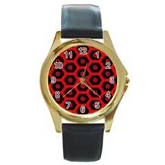 Red Bee Hive Texture Round Gold Metal Watch