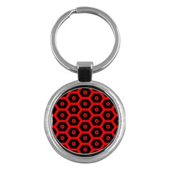 Red Bee Hive Texture Key Chains (Round)