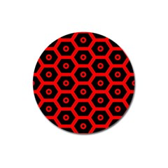 Red Bee Hive Texture Magnet 3  (Round)