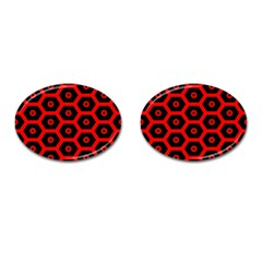 Red Bee Hive Texture Cufflinks (Oval)