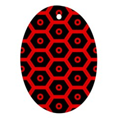 Red Bee Hive Texture Oval Ornament (two Sides)