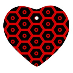 Red Bee Hive Texture Heart Ornament (Two Sides)