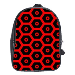 Red Bee Hive Texture School Bags(Large)