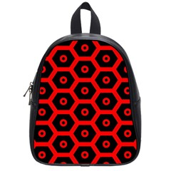 Red Bee Hive Texture School Bags (Small)
