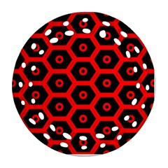 Red Bee Hive Texture Ornament (round Filigree)