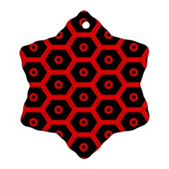 Red Bee Hive Texture Snowflake Ornament (Two Sides)