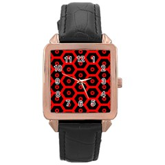 Red Bee Hive Texture Rose Gold Leather Watch