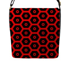 Red Bee Hive Texture Flap Messenger Bag (l)
