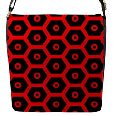 Red Bee Hive Texture Flap Messenger Bag (S)