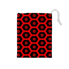 Red Bee Hive Texture Drawstring Pouches (medium)