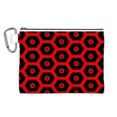 Red Bee Hive Texture Canvas Cosmetic Bag (L)