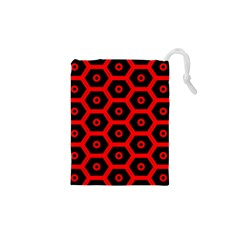 Red Bee Hive Texture Drawstring Pouches (XS)