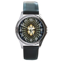 Stained Glass Colorful Glass Round Metal Watch